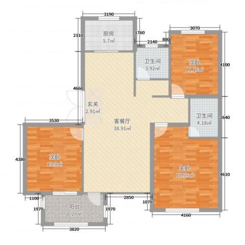 东方世纪城3室2厅2卫1厨129.00㎡户型图