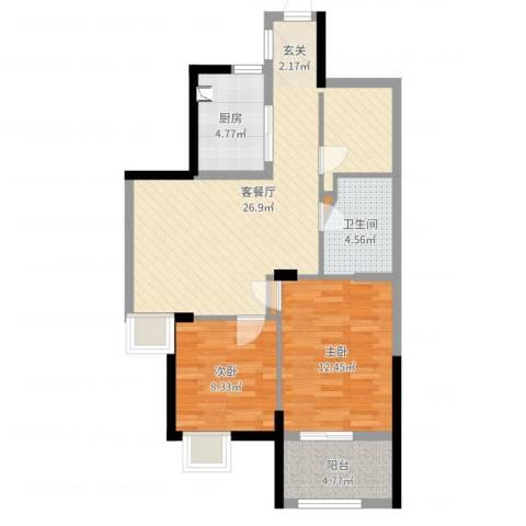 新时代城市家园2室2厅1卫1厨78.00㎡户型图