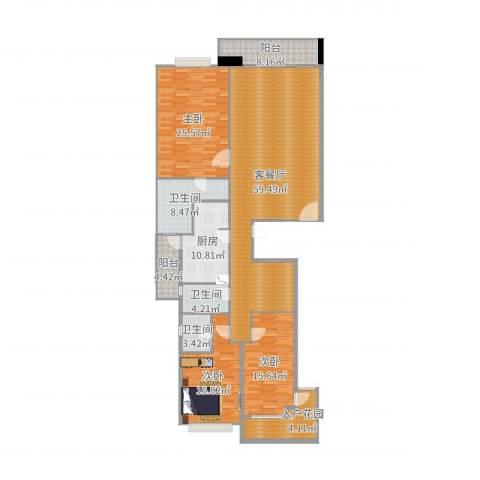 珊瑚湾畔小区3室2厅3卫1厨193.00㎡户型图