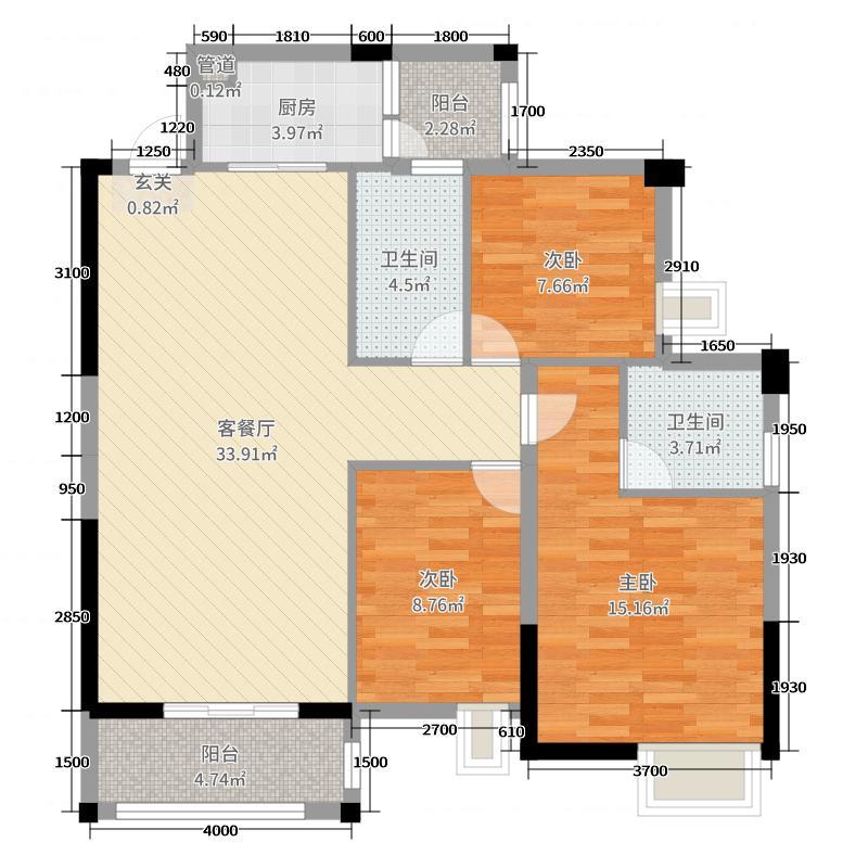 宝豪・御龙湾二期106.10㎡D户型3室3厅2卫1厨
