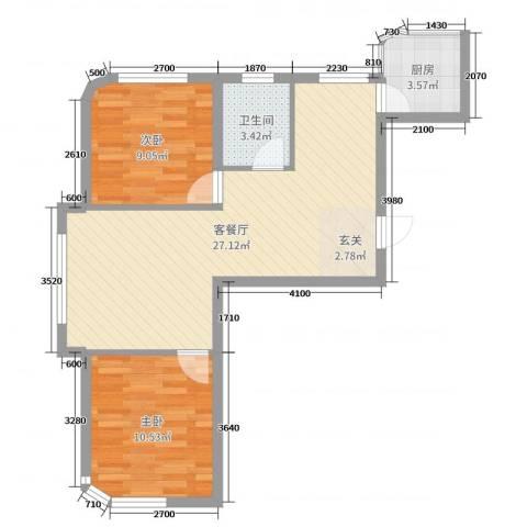 文景清华园2室2厅1卫1厨82.00㎡户型图