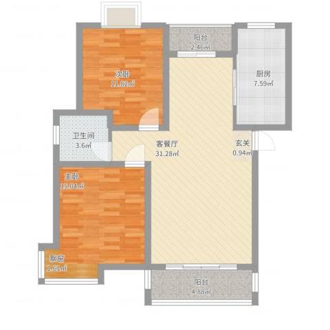 金桥慧景2室2厅1卫1厨110.00㎡户型图