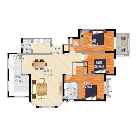 青青小城3室2厅2卫1厨146.00㎡户型图