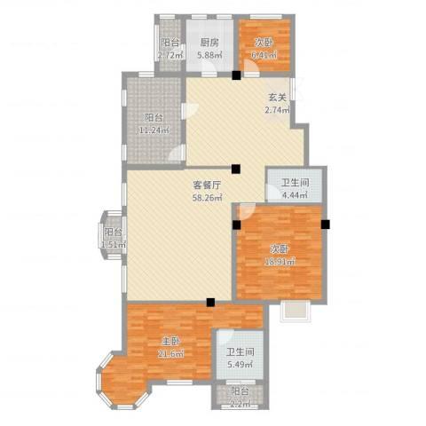 伊利亚特湾3室2厅2卫1厨173.00㎡户型图
