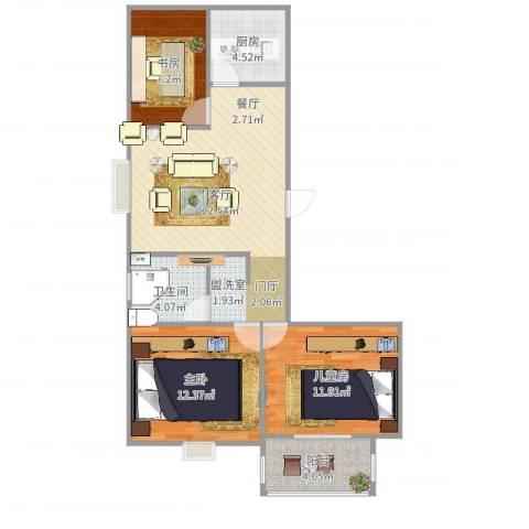 文苑小区3室1厅1卫1厨84.00㎡户型图