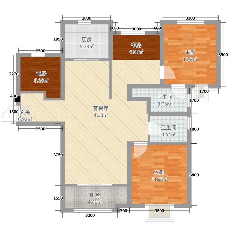 重汽翡翠雅郡130.00㎡8#9#错层两代居X户型3室3厅2卫1厨