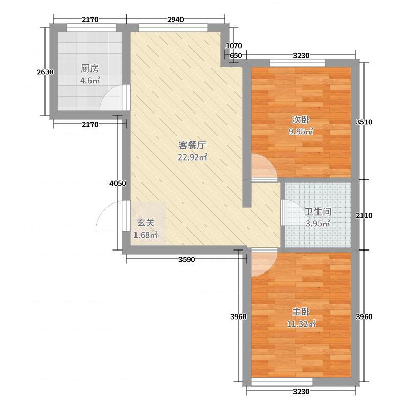天玺瑞银壹品76.45㎡3#楼E户型2室2厅1卫1厨