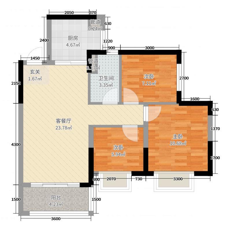 恒大望江华府88.00㎡1栋3、4单元B2标准层户型3室3厅1卫1厨