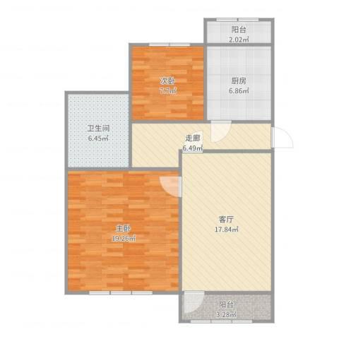 龙跃苑四区2室1厅1卫1厨87.00㎡户型图