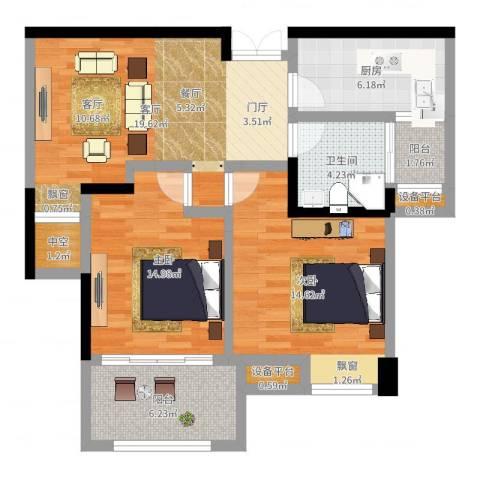 中央香榭2室1厅3卫2厨84.00㎡户型图