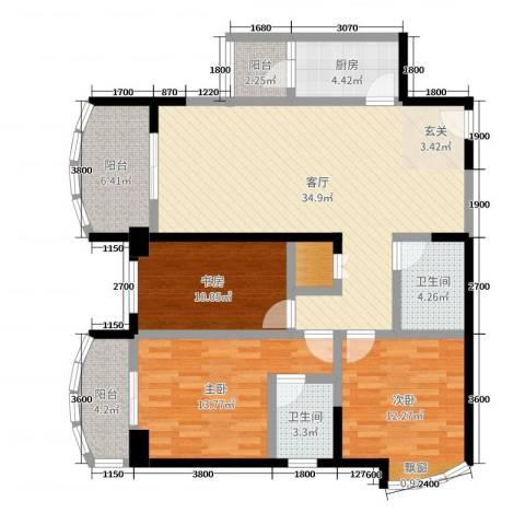 康龙国际广场·龙吟台3室1厅2卫1厨125.00㎡户型图