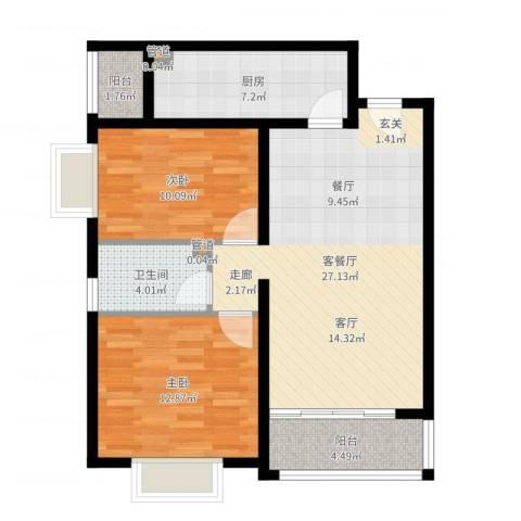 乔庄北街2室2厅1卫1厨85.00㎡户型图