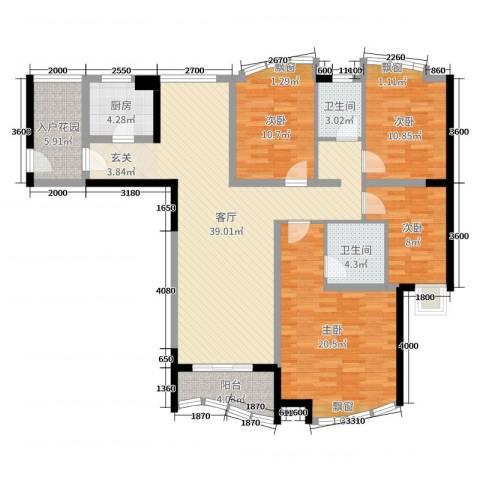 康龙国际广场·龙吟台4室1厅2卫1厨137.00㎡户型图