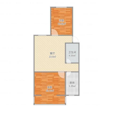 冯村西里2室1厅1卫1厨80.00㎡户型图
