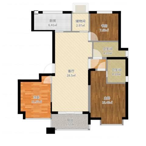 九龙仓雅戈尔铂翠湾3室1厅2卫1厨110.00㎡户型图