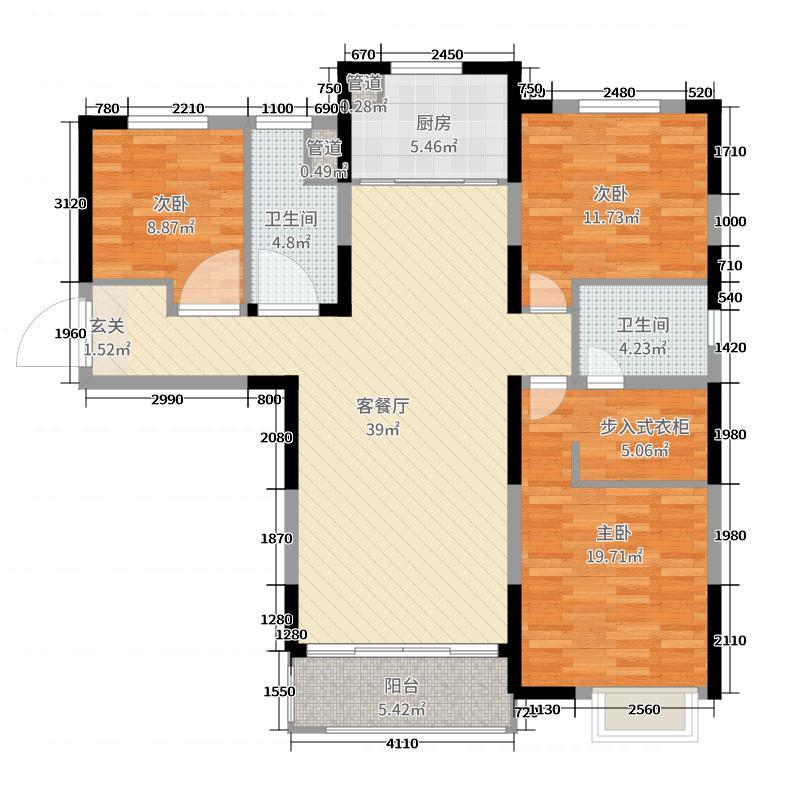 华远枫悦125.00㎡D户型3室3厅2卫1厨
