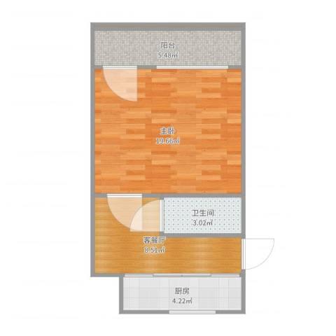 育秀九区1室2厅1卫1厨51.00㎡户型图