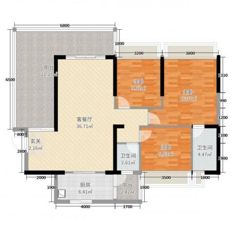东方花园3室2厅2卫1厨135.00㎡户型图