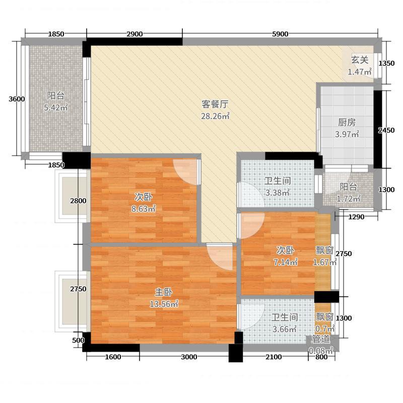 日华坊二期94.00㎡4幢04户型3室3厅2卫1厨