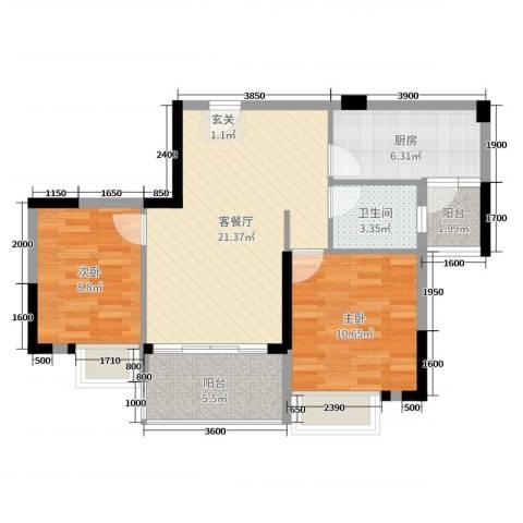 日华坊二期2室2厅1卫1厨82.00㎡户型图