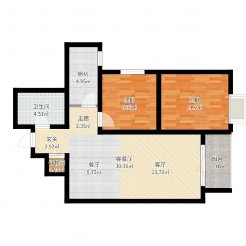 曲江上郡2室2厅1卫1厨81.00㎡户型图