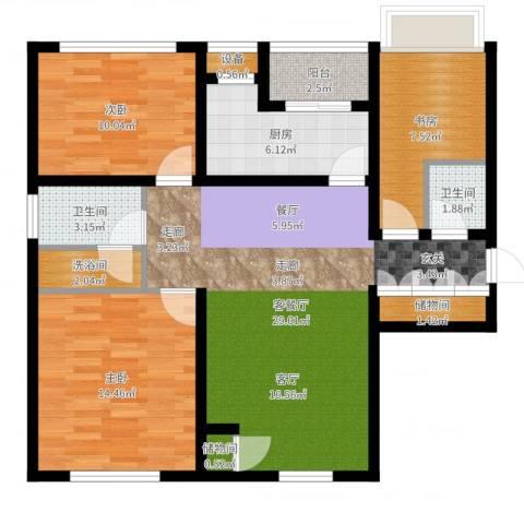 惠灵顿国际社区河庭花苑3室2厅2卫1厨99.00㎡户型图