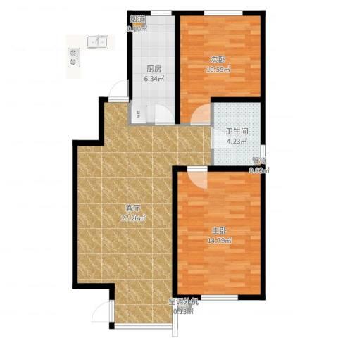 天房意境2室1厅1卫1厨79.00㎡户型图