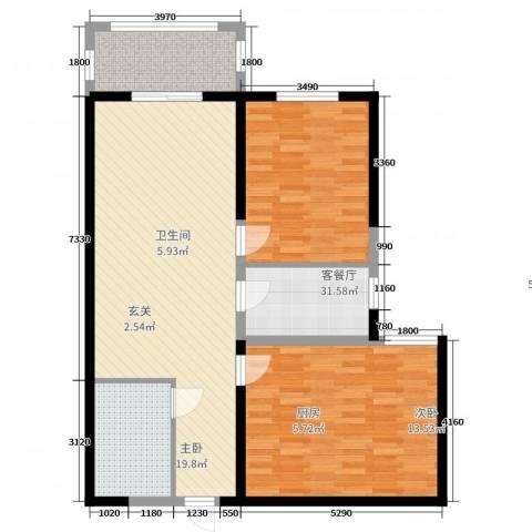 城南都市嘉园二期2室2厅1卫1厨103.00㎡户型图