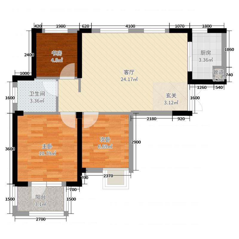 汉口新界广场90.88㎡3#3-1户型3室3厅1卫1厨