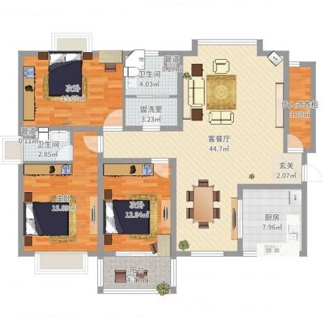 阳光・城市花园3室4厅2卫1厨165.00㎡户型图