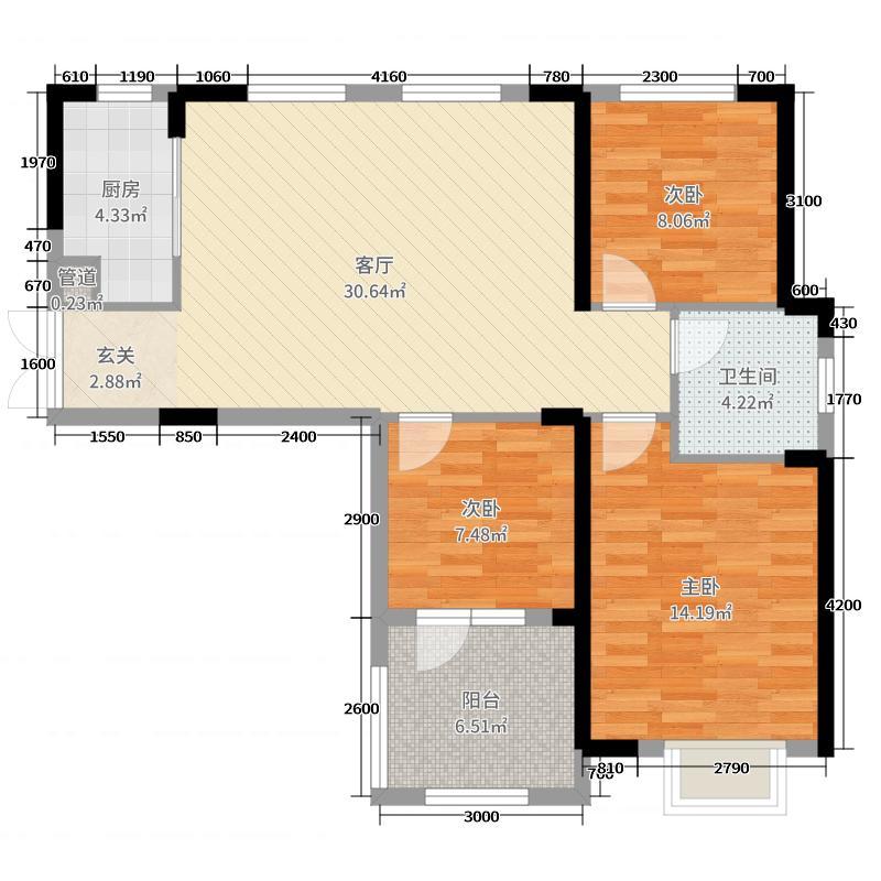 汉口新界广场115.09㎡3#3-3户型3室3厅1卫1厨