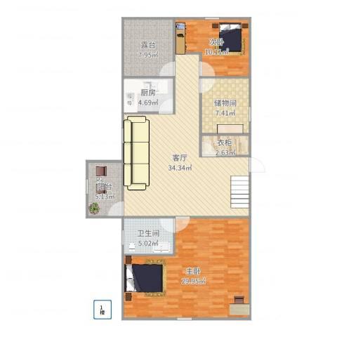 湖畔花园2室1厅1卫1厨134.00㎡户型图