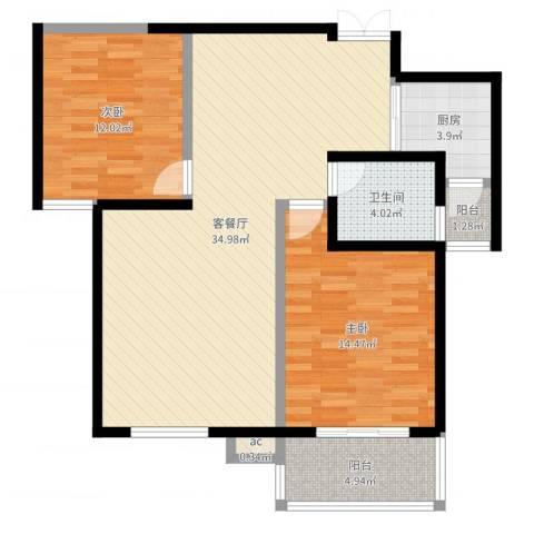 枫景观天下2室2厅1卫1厨95.00㎡户型图