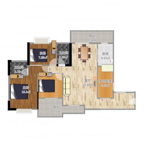 恒达花园2室1厅2卫1厨125.00㎡户型图