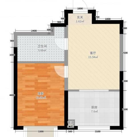 幸福阳光1室1厅1卫1厨42.22㎡户型图
