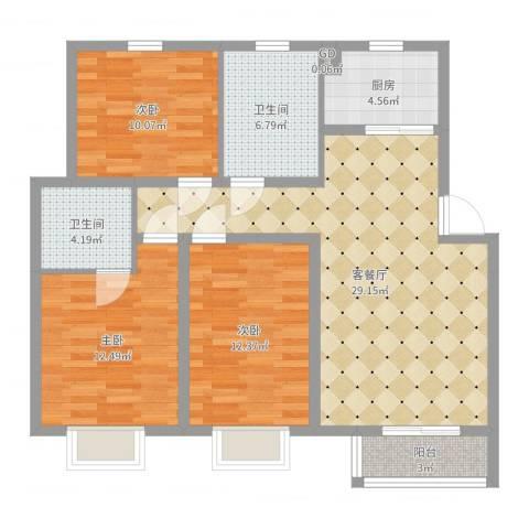 汇景豪庭3室2厅2卫1厨103.00㎡户型图