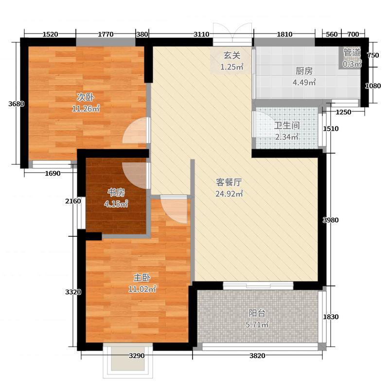 金融街壹号96.98㎡D2户型3室3厅1卫1厨