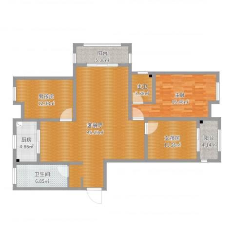 正通桂花苑1室2厅1卫1厨139.00㎡户型图