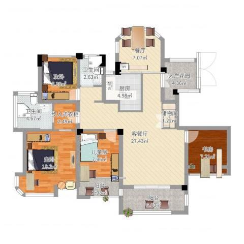 瑶溪金御湾4室4厅2卫1厨123.00㎡户型图