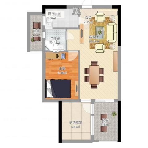 嘉誉蓝湾1室2厅1卫1厨77.00㎡户型图