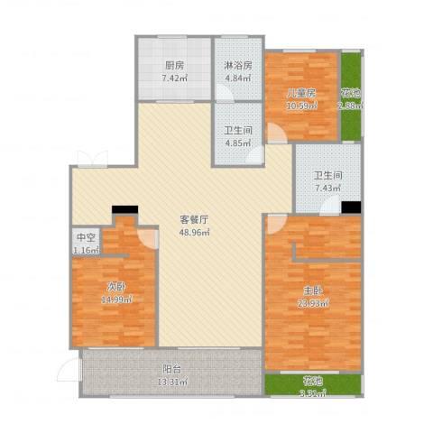 蠡湖香樟园3室2厅2卫1厨180.00㎡户型图