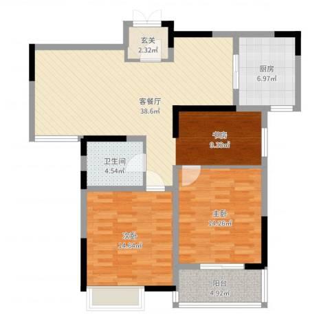 冠城华府2室2厅1卫1厨108.00㎡户型图