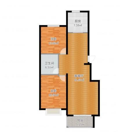 华茂名居2室2厅1卫1厨112.00㎡户型图