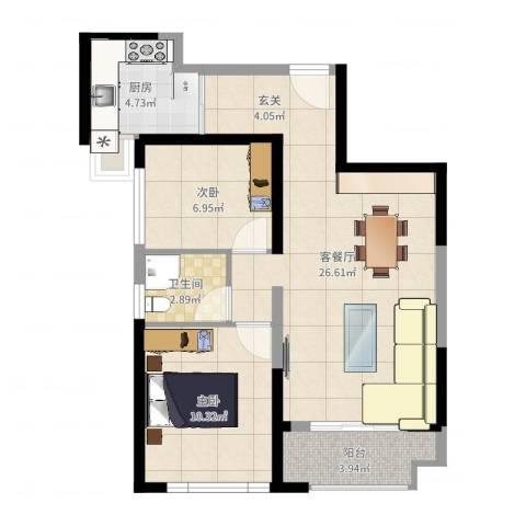 华尔国际2室2厅1卫1厨69.00㎡户型图