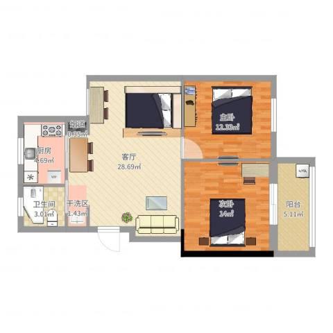 朱佳苑2室1厅1卫1厨85.00㎡户型图