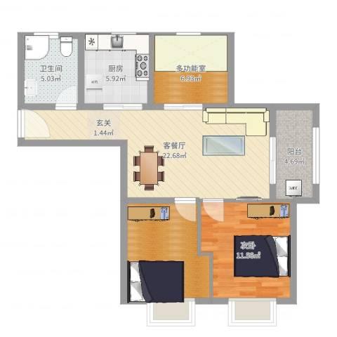 伊顿华府1室2厅1卫1厨84.00㎡户型图