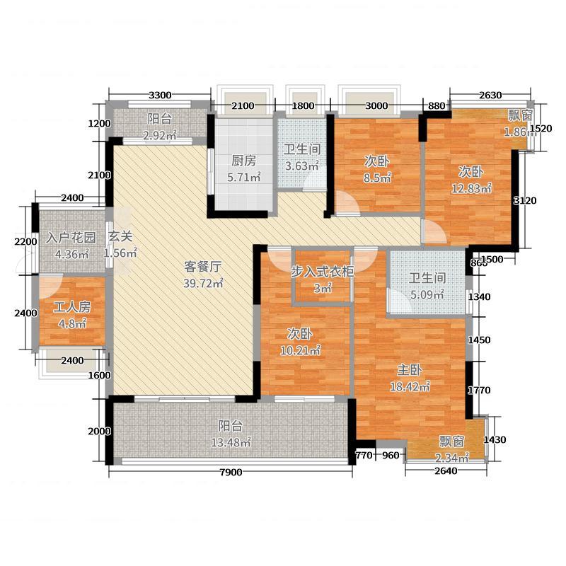 银泰红城三期163.00㎡F2F504户型4室4厅2卫1厨