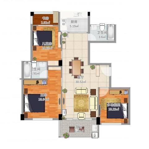 练市镇东方豪园3室1厅2卫1厨113.00㎡户型图
