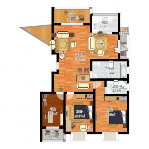 天泽水岸3室2厅2卫1厨132.00㎡户型图