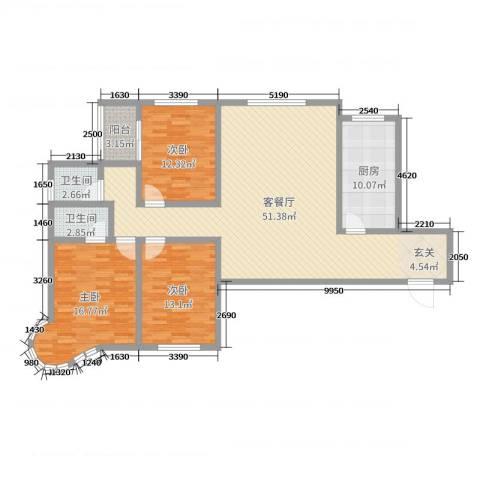 龙悦湾三期3室2厅2卫1厨140.00㎡户型图